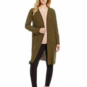 Gibson & Latimer Embroidered Bed Jacket - Olive
